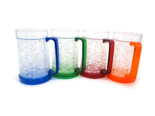 Plastic Freezer Beer Mugs with Gel by Trademark Innovations (Set of 4)