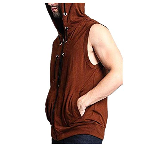 Chaleco con capucha para hombre joven Street Color sólido Slim Chaleco