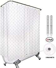 Riyidecor Clawfoot Tub Chevron Shower Curtain Bathtub All Wrap Around White Herringbone Round Polyester Fabric Wraparound Extra Wide Panel 180x70 Inch Set Waterproof with 32 Metal Hooks and Magnets