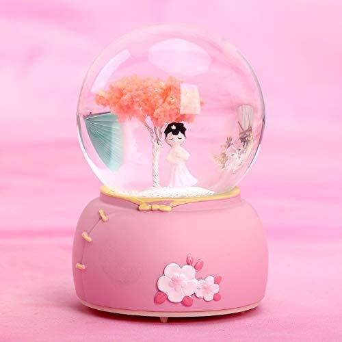 NOBLO Caja de msica creativa estilo antiguo Hanfu Girl bola de cristal caja de msica giratoria copo de nieve pareja nios estudiante regalo