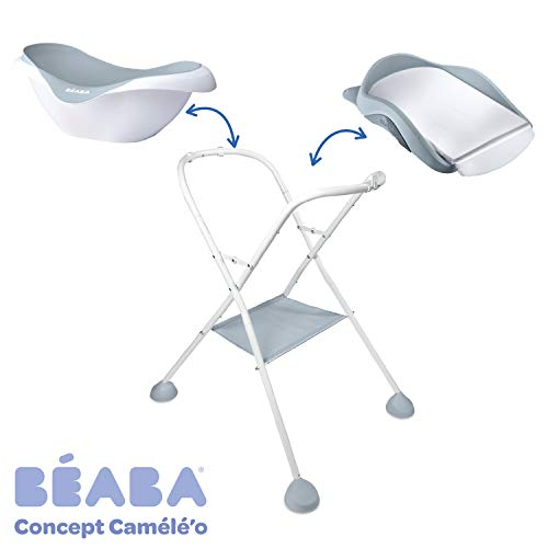 Beaba Baby Bath and Changing Table Stand - Camele'O Compatible - Foldable - Can be dismantled - Light Mist