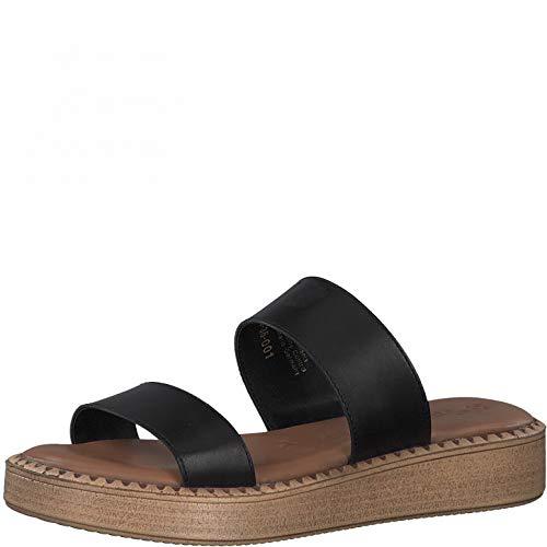 Tamaris Femme Mules, Dame Sabots,Touch It,Chaussure d'été,Chaussure de Loisir,Pantoufle,Slides,Sandale,Black Leather,38 EU / 5 UK