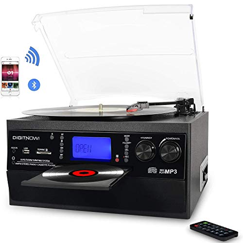 DIGITNOW! Bluetooth Vinyl Record Player Turntable, CD, Cassette, AM FM Radio and Aux in with USB Port & SD Encoding- Remote Control, Built-in stereo speaker, Stand Alone Music Player, Remote Control