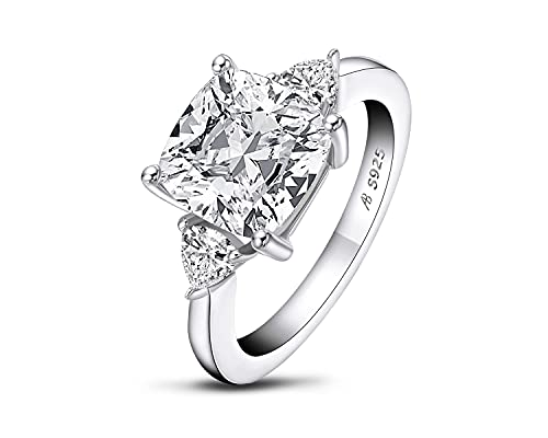 AINUOSHI 5.5 Carats Cushion Cut 925 Sterling Silver Sona Diamond Cubic Zirconia...