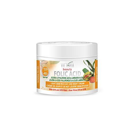 Victoria Beauty - Anti Aging Hyaluron Creme gegen Falten und Augenringe, Gesichtscreme mit Jojobaöl, Folsäure und Hyaluronsäure für Frauen und Männer ab 40 (1 x 50 ml)