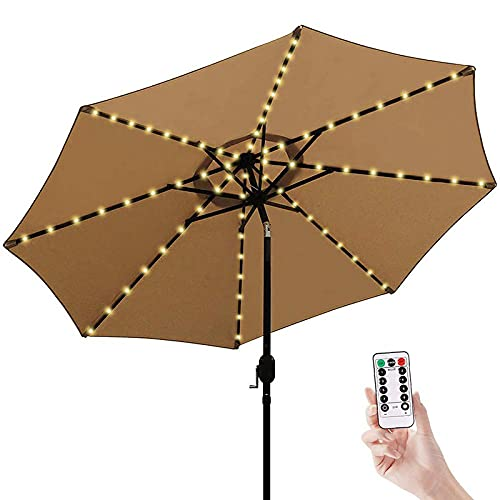 Patio Umbrella Lights, 104 LED Parasol String Lights,with Remote Control 8 Modes or Long Time Outdoor Garden Umbrella Lighting Use,IP67 Waterproof for Camping Tents Beach Holidays