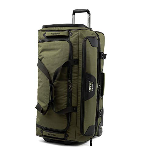 Travelpro Bold-Drop Bottom Wheeled Rolling Duffel Bag, Olive/Black, 30-Inch