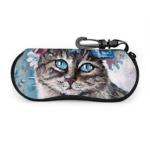Tcerlcir Estuche para gafas Estuche para anteojos Gato en guirnalda de flores Estuche para gafas de sol ligeras vectoriales Estuche suave para mujeres Hombres Cremallera Neopreno 17X8cm