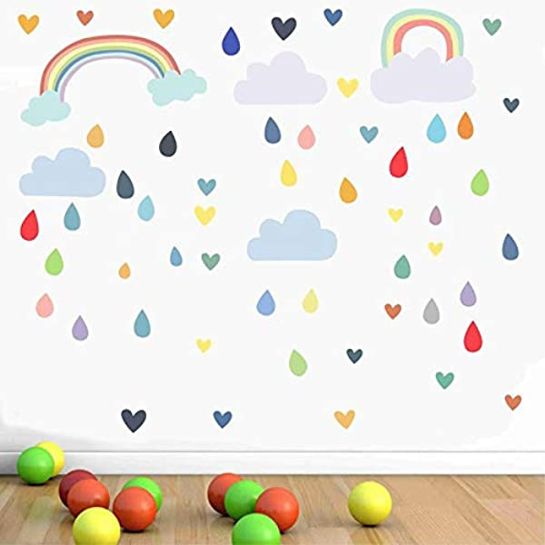 Liwendi Colorful Rainbow Clouds Drop Art Wall Sticker For Kids Room Decoration Colorful Raindrops Wall Decal Wallpaper Home Decor