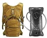 Idefair Zaino per idratazione, Zaino per Acqua con Sacca d'Acqua da 3 Litri Zaino da Escursionismo Leggero Zaino per Gilet di idratazione(Colore Fango 2)