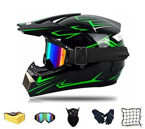 Fullface Motorradhelm Kinder Downhill Helme Off Road Helm Crosshelme,Motocross Helm Set Für Mountainbike ATV BMX Downhill Offroad,D.O.T Zulassung Integralhelm abnehmbar (XXL)