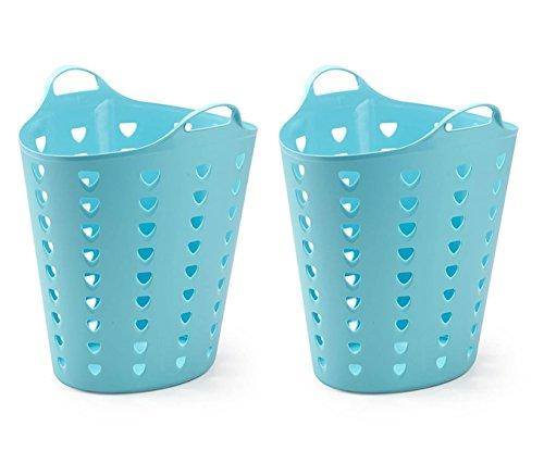 Kreher 2 x Flexibler Wäschekorb, Mehrzweckkorb, gelocht, in Blau. Mit Griffen und Nutzvolumen ca. 65 Liter pro Korb.