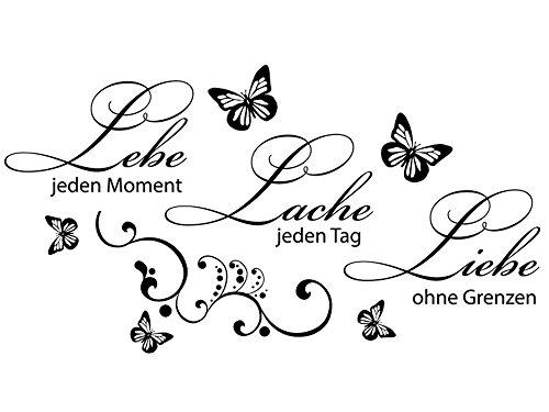 Wandtattoo-bilder® Wandtattoo Sprüche Lebe jeden Moment, Lache jeden Tag Wandsticker Wandaufkleber Wanddeko Schmetterlinge Farbe Schwarz, Größe 100x53