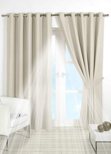PAIR of BLACKOUT CURTAINS Super Soft Solid Thermal INSULATED EYELET Ring Top Curtains BLACKOUT Window CURTAINS for Living Room Bedroom Including Two Matching Tie Backs (Cream / Ivory, 66' x 72')