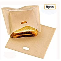 Bolsas para tostar Antiadherentes Toastabags resistentes al calor reutilizables, ideales para sándwiches de queso a la parrilla Pastelería para pizza, paquete de 6 piezas