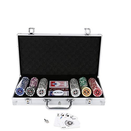 BMOT Pokerkoffer 300 Chips Laser Pokerchips Poker 11.5 Gramm , 2 Karten, Händler, 5 Würfel, mit Aluminium-Gehäuse Silber Koffer