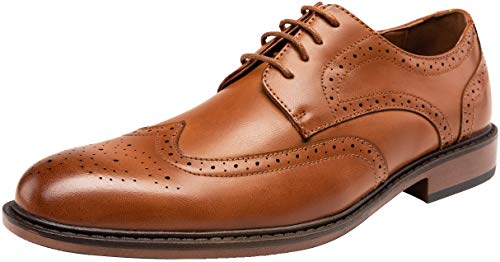 JOUSEN Mens Dress Shoes Brown Wingtip Lightweight Oxford Shoes for Men(AMY625 Brown 10)