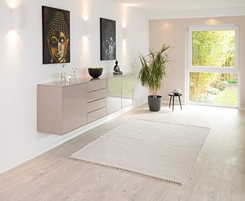 PuRo Lifestyle Handwebteppich \'Kim\' weiß, Größe:120 cm x 180 cm, in vielen weiteren Farben und Größen erhältlich