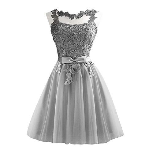 Vestido de festa de dama de honra de renda, vestido de formatura, vestido de noite, vestido de dama de honra, vestidos de concurso de casamento macio (cinza, tamanho M) para lembrancinhas de festa