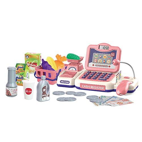 ETbotu Cadeau voor kinderen, mini-simulatie, supermarkt, kassa voor rollenspellen, kassiers, registreerkas, set voor kinderen, om te knutselen, om te spelen, leerspeelgoed Rood