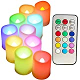 """Colored Flameless Candles with Timer and Remote Control - SWEETIME Color Changing Led Tea Lights Candles, Battery Operated Votive Candles for Valentine Day, Easter Party Decor,1.5""""x 2"""",Set of 10."""