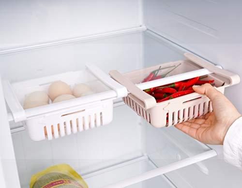 HapiLeap kühlschrank Schubladen, Einstellbare Lagerregal Kühlschrank Partition Layer Organizer, Ausziehbare Kühlschrank Schublade Organizer Kühlschrank Aufbewahrungsbox (2 Stück)