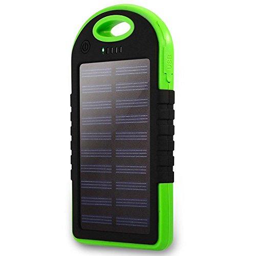 Shop-STORY – Cargador solar universal con lámpara LED – Power Bank portátil impermeable y antigolpes – Batería externa de 5000 mAh con doble puerto USB – Verde