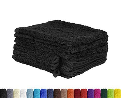 10er Pack Waschlappen, Waschhandschuhe Set in vielen Farben 100% Baumwolle 10x Waschhandschuh 15x21 cm Schwarz