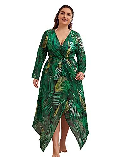 Romwe Women's Plus Size Floral Print Sheer Beach Swimsuit Cover up Long Kimono Tropical Green AA 1XL