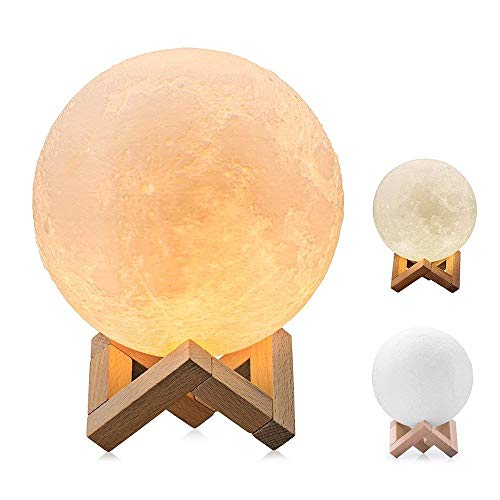 Moon Lamp 3D Printed LED Night Light with Stand, USB Charging White/Warm Light Touch Control Adjustment Brightness Dimmable for Decoration and Gifts 15CM aycpg