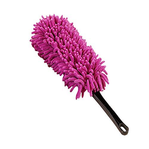 YSHtanj Chenille borstel auto schoonmaken en onderhoud reparatie gereedschap draagbare huis auto zachte microvezel stofzuiger Chenille schoonmaken stof stofzuigen borstel - rose rood