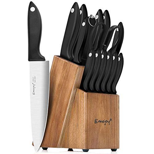 Knife Set, 15-Piece Kitchen Knife Set with Sharpener Wooden Block and Serrated Steak Knives,Emojoy Germany High Carbon Stainless Steel Knife Block Set