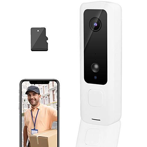 Timbre con video 720P, timbre inalámbrico WIFI, timbre con intercomunicador de puerta con monitoreo remoto por teléfono e intercomunicador bidireccional y visión nocturna, para el hogar