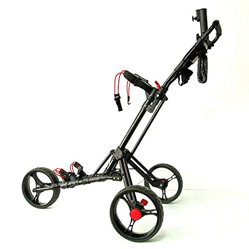 Lowest Prices! ANJING Folding Golf Cart, 3 Wheel Golf Trolley Golf Push Cart with Cup Holder, Umbrel...