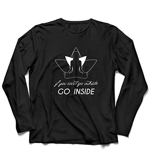 lepni.me Camiseta de Manga Larga para Hombre Entra En Mantra Ropa de Yoga de Cuarentena (Large Negro Multicolor)