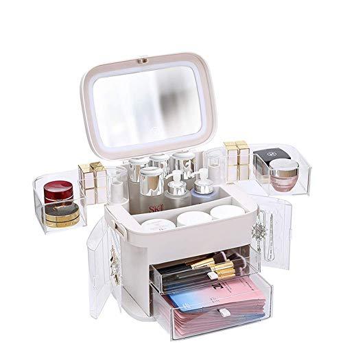 JJHZ Maquillaje Organizador De Almacenamiento con Espejo De Luz LED De Gran Capacidad Portátil A Prueba De Polvo del Maquillaje De La Caja De Baño Viaje -21 * 29 * 30 Cm, Blanca