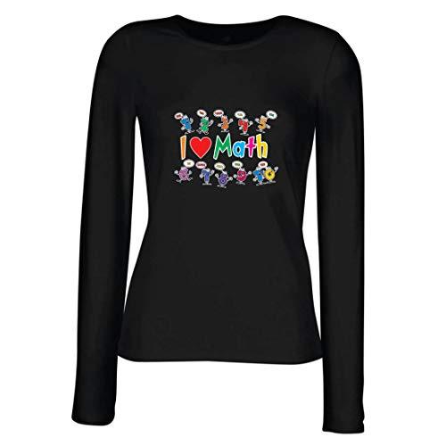 lepni.me Camisetas de Manga Larga para Mujer Amo Las matemáticas, el Regalo Educativo de Regreso a la Escuela o la graduación (X-Large Blanco Multicolor)