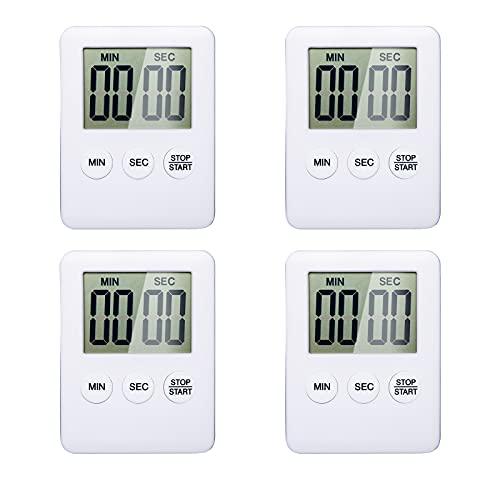 Küchentimer Digitaler, DanLink 4-Teiliger Küchenwecker mit Weckerinnerungsfunktion Magnetischem, Großem LCD-Display Küchenwecker, Eieruhr Küchenuhr Countdown Stoppuhr zum Kochen, Fitness, Lernen