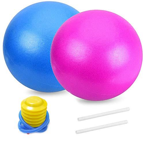 Gymnastikball, Mini Pilates Ball Yoga Ball 25cm 2 Stck inkl Luftpumpe Blauer Rosa Kleine Übung Ball Yoga Übungsball Für Fitness, Reha, Rückentraining und Coordination Herren Damen Kinder