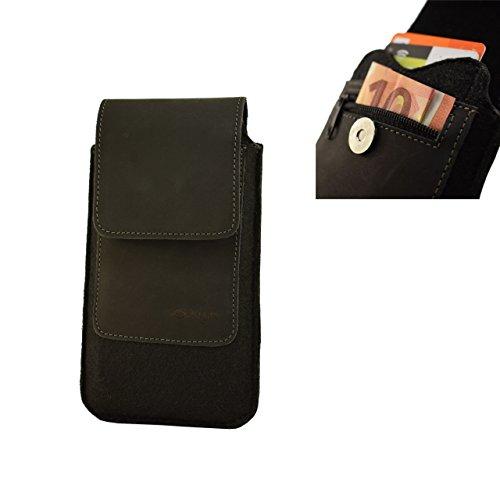 OrLine Handytasche kompatibel mit LG Leon C50 mit Silikon Hülle. Gürteltasche mit Magnetverschluß & EC-Kartenfach aus Echtleder mit Filz. Schutz-hülle Handy-hülle Schwarz Etui