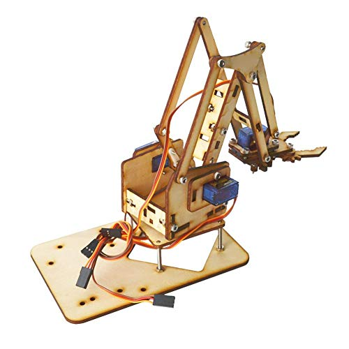 NEUFDAY Neufdayyy DIY Roboterarm Kit, 4 DOF Holz Robotic Mechanical Arm SG90 Servo für Arduino Raspberry Pi SNAM1500