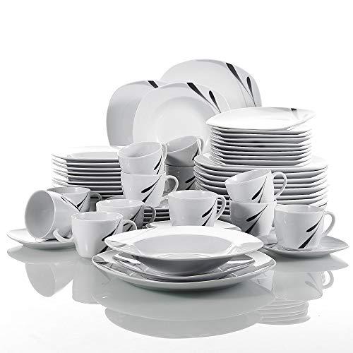 VEWEET Porzellan Tafelservice 60 tlg. Set, Serie 'Karla', Weiß Kombiservice, Kaffeeservice für 12 Personen