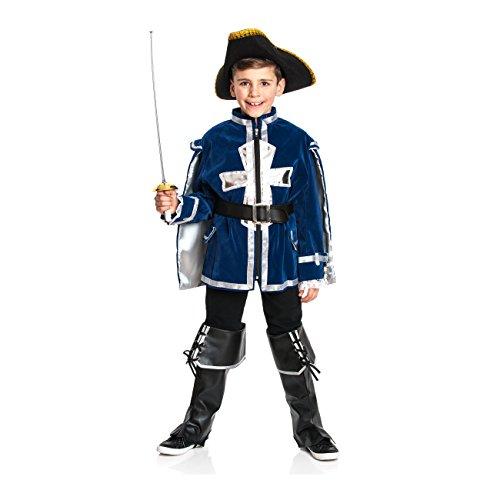 Kostümplanet® Musketier-Kostüm für Kinder inklusive Jacket, Gürtel und Stiefelstulpen, Größe: 128 Farbe: blau, Verkleidung Fasching-Kostüm