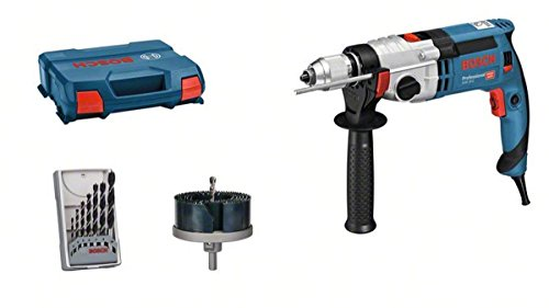 Bosch Professional GSB 24-2 - Taladro percutor (1100 W, 2 velocidades, 3000 rpm, Ø max perforación hormigón 22 mm, set brocas + corona, en maletín)