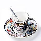 Tazas De Cafe Taza De Café De La Taza De La Reflexión Del Espejo Juego De Taza Y Platillo De Café De Cerámica, Vea La Tabla, 201-300Ml