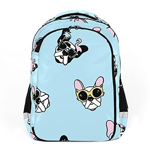 Mochilas de viaje para adultos, mochilas escolares, mochilas adecuadas para todas las edades, mochilas para niños con dibujos animados perros con gafas de sol - azul Dibujado a mano mascota