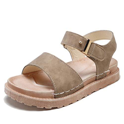 Sandalias de Mujer Plataforma Antideslizante Color sólido Retro Correa de Palo de PU Sandalias con Espalda Abierta Playa Caminando Moda Verano Señoras Sandalias Peep Toe