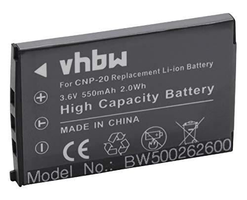 vhbw batteria compatibile con Casio Exilim EX Serie EX-S770D, EX-S880, EX-Z11, EX-Z12, EX-Z3 fotocamera digitale DSLR (550mAh, 3,6V, Li-Ion)