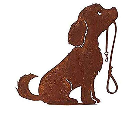 itsisa ® Dekofigur Hund mit Leine im Rost Design, Rostfigur für den Garten, Gartendeko, Metalldeko