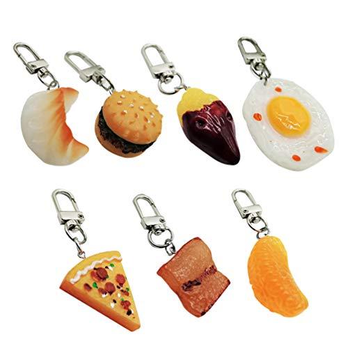 STOBOK 7pcs novità portachiavi alimentari gnocchi di uova hamburger di pizza portachiavi arancione borsa borsa charms portafortuna festa di natale bomboniere regali